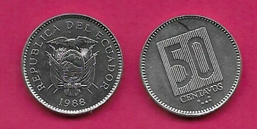 ECUADOR 50 CENTAVOS 1988 UNC FLAG DRAPED ARMS,DATE BELOW,DENOMINATION WITHIN