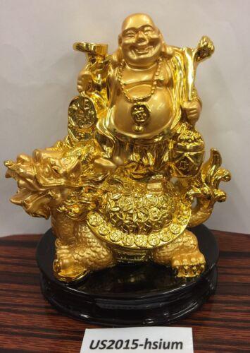 Chinese Wealth Money Happy Laugh Maitreya Buddha On Dragon Turtle Statue