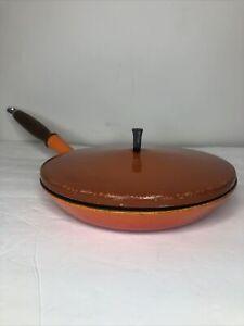 Vintage Le Creuset Fry Pan W/lid Enamel flame orange Skillet #26 Wood Handle