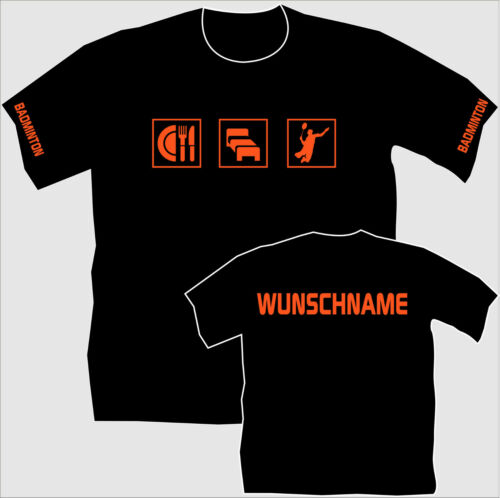 Name 20 Federballshirt Badminton T-Shirt Trikot Trainingslager Essen Schlafen