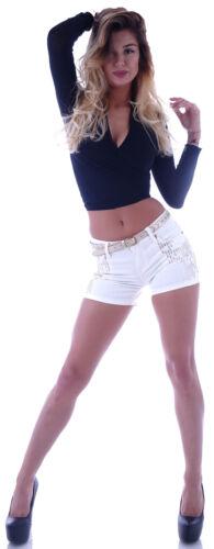 Pailletten Hot Pants Shorts weiß Shorty Hüft jeans Panty schwarz Hotpants S31