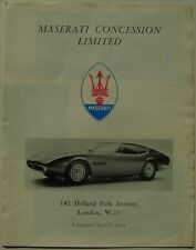 Maserati Range Ghibli Sebring Mexico Mistral c.1968 Original UK Foldout Brochure