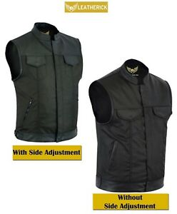 Men-Sons-of-Anarchy-Water-Resistant-Motorcycle-Biker-Waistcoat-with-Leather-Trim