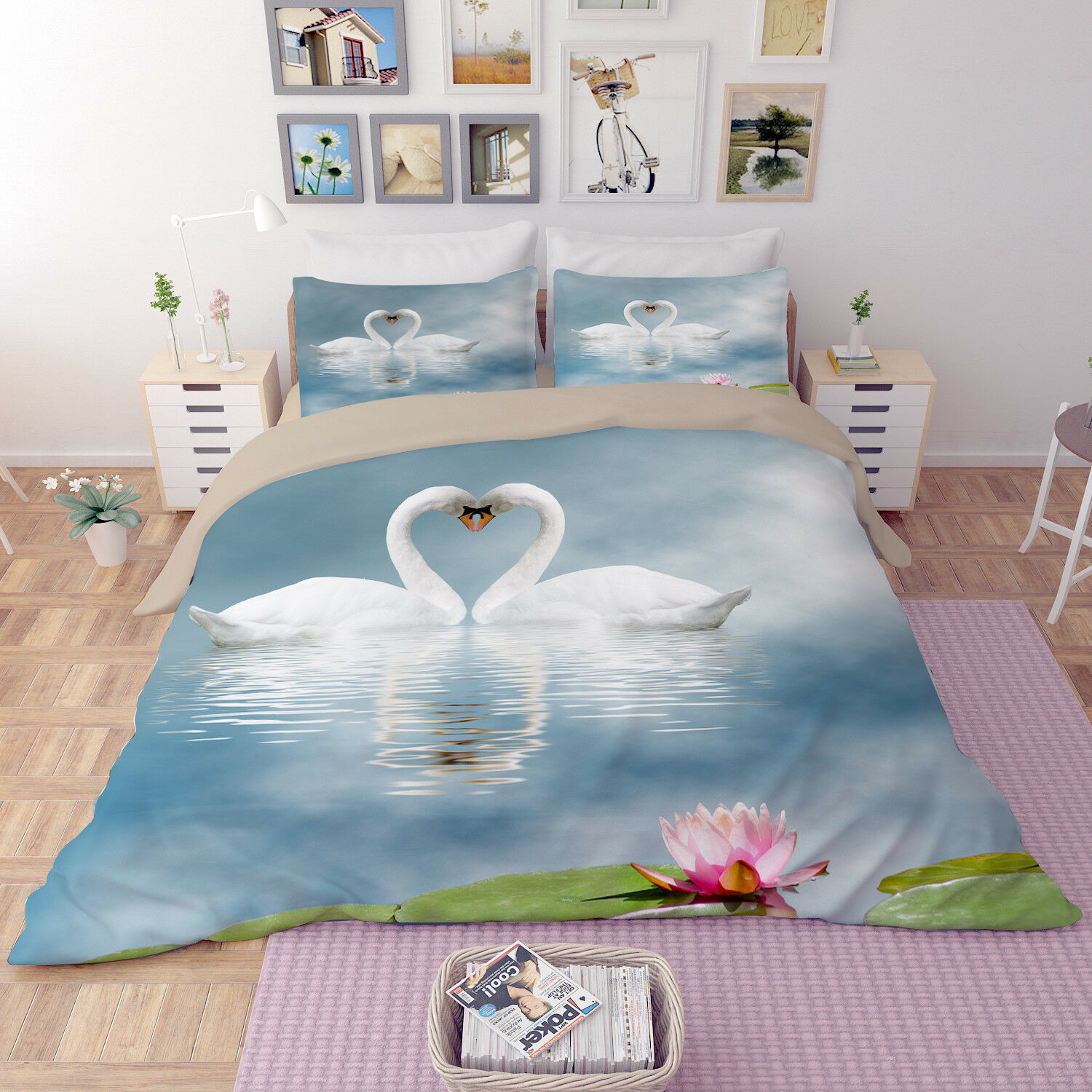 Swan Pond 467 Bed Pillowcases Quilt Duvet Cover Set Single Queen Au Carly