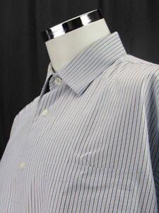 Johnston-amp-Murphy-Mens-Long-Sleeve-Dress-Shirt-XL-Blue-Brown-Striped-100-Cotton