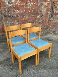 SET-OF-4-VINTAGE-LIGHT-WOOD-KITCHEN-CHAIRS-WITH-BLUE-VINYL-SEATS-FOUR-CHAIRS