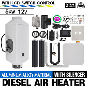 12V-5KW-Diesel-Air-Heater-LCD-Aluminum-Alloy-Thermostat-Boats-Exhust-Pipe