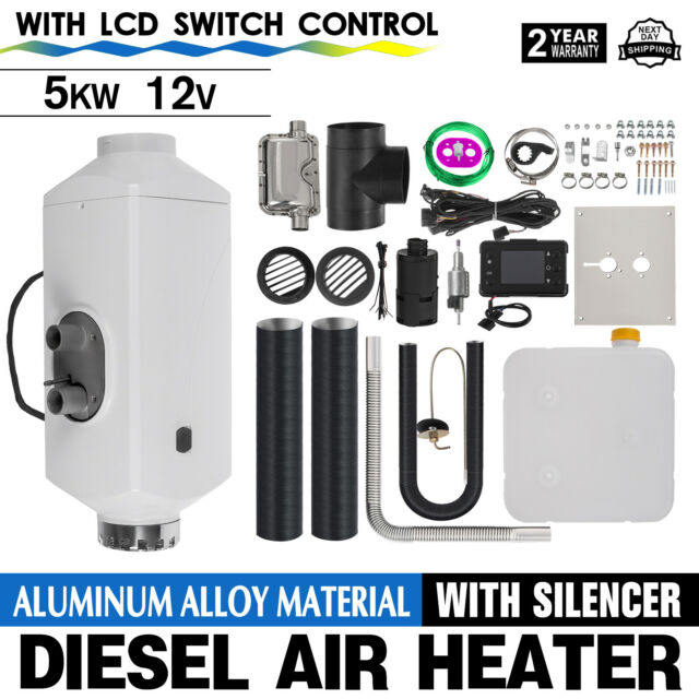 12V 5KW Diesel Air Heater LCD Aluminum Alloy Thermostat Boats Exhust Pipe