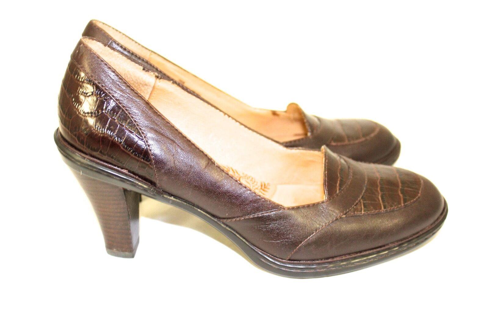 marchi di moda SOFFT Marrone Leather & Croc Pattern 3.5 3.5 3.5  Heel Rounded Toe Pumps  9M NEW  fabbrica diretta