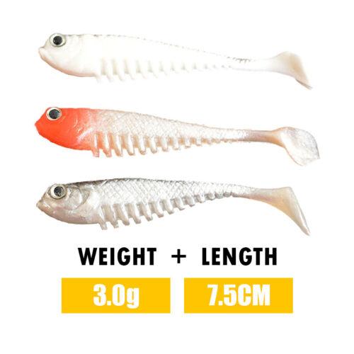 10Pcs 2.9/'/' Silicone Shad Soft Fishing Lures Bait Tackle Crankbaits Hooks