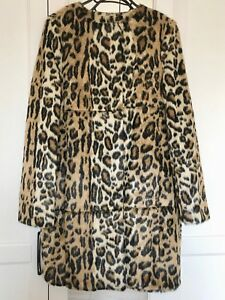 9e703bd14b7 Image is loading Topshop-Faux-Fur-Animal-Leopard-Print-Coat-Size-