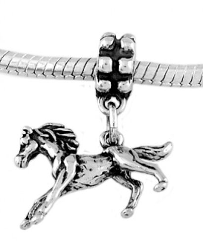 Sterling Silver Dangle galop Poney-Cheval Perle Européenne