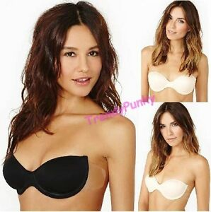 BACKLESS STRAPLESS NUDE NU BRA STICK SELF-ADHESIVE PUSH UP ...