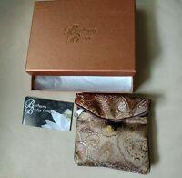 Barbara Bixby Jewelry Travel Storage Brown Zipper Pouch 5-1/4x4x1 Box