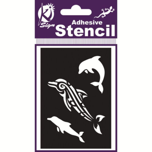Dolphin Pattern Adhesive Reusable Stencil Painting Tattoo Craft 70x100mm SP1025