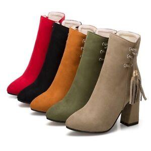 588416d350150 Womens Tassel Suede Block Heels Zip Pointed Toe Comfort Ankle Boots ...