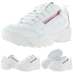 Fila-Womens-Disruptor-3-Zip-White-Sneakers-Shoes-8-Medium-B-M-BHFO-4395