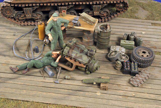 Verlinden 1 35 US Military Field Workshop w Mechanics & Acc. WWII (2 Figs.) 2781