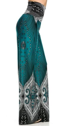 """HIGH WAISTED FOLD OVER TURQUOISE /"""" IT/'S CHEMICAL/"""" PEACOCK PALAZZO PANTS S M L"""