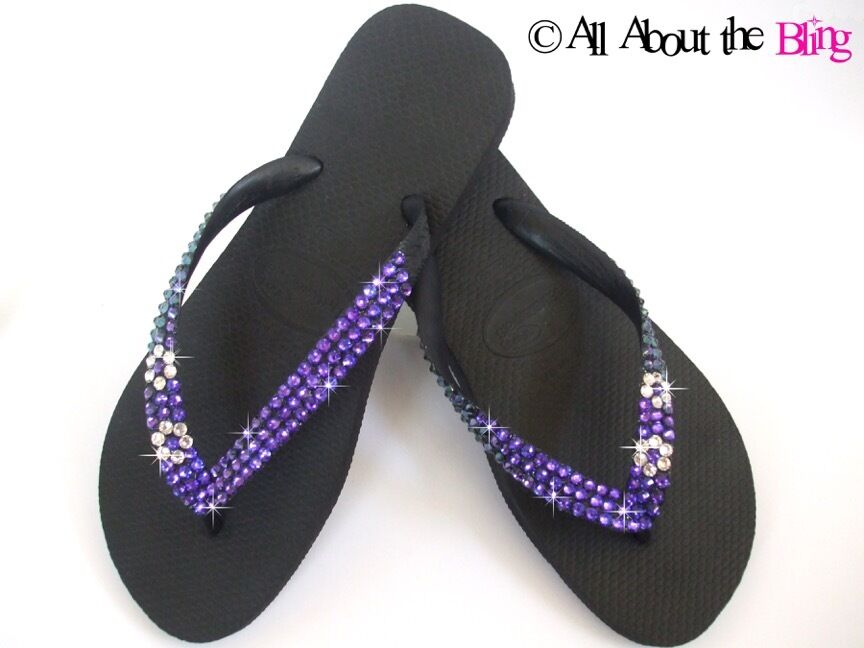HAVAIANAS flip flops with SWAROVSKI CRYSTALS Purple blue Color Changing STUNNING