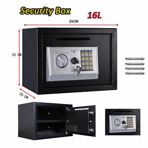 8.5L Strong Steel Key Security Money Cash Hidden Wall//Floor Safe Box W// Key Lock