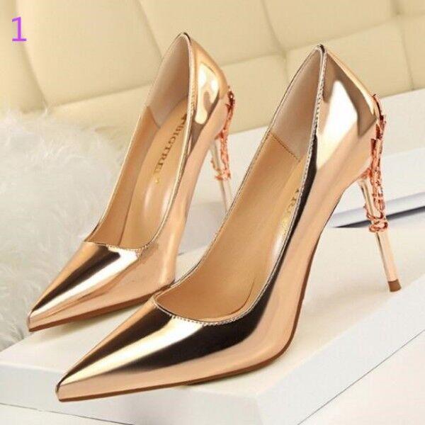 Court shoes women's gold copper élégant stiletto 10 cm pin like leather 8305