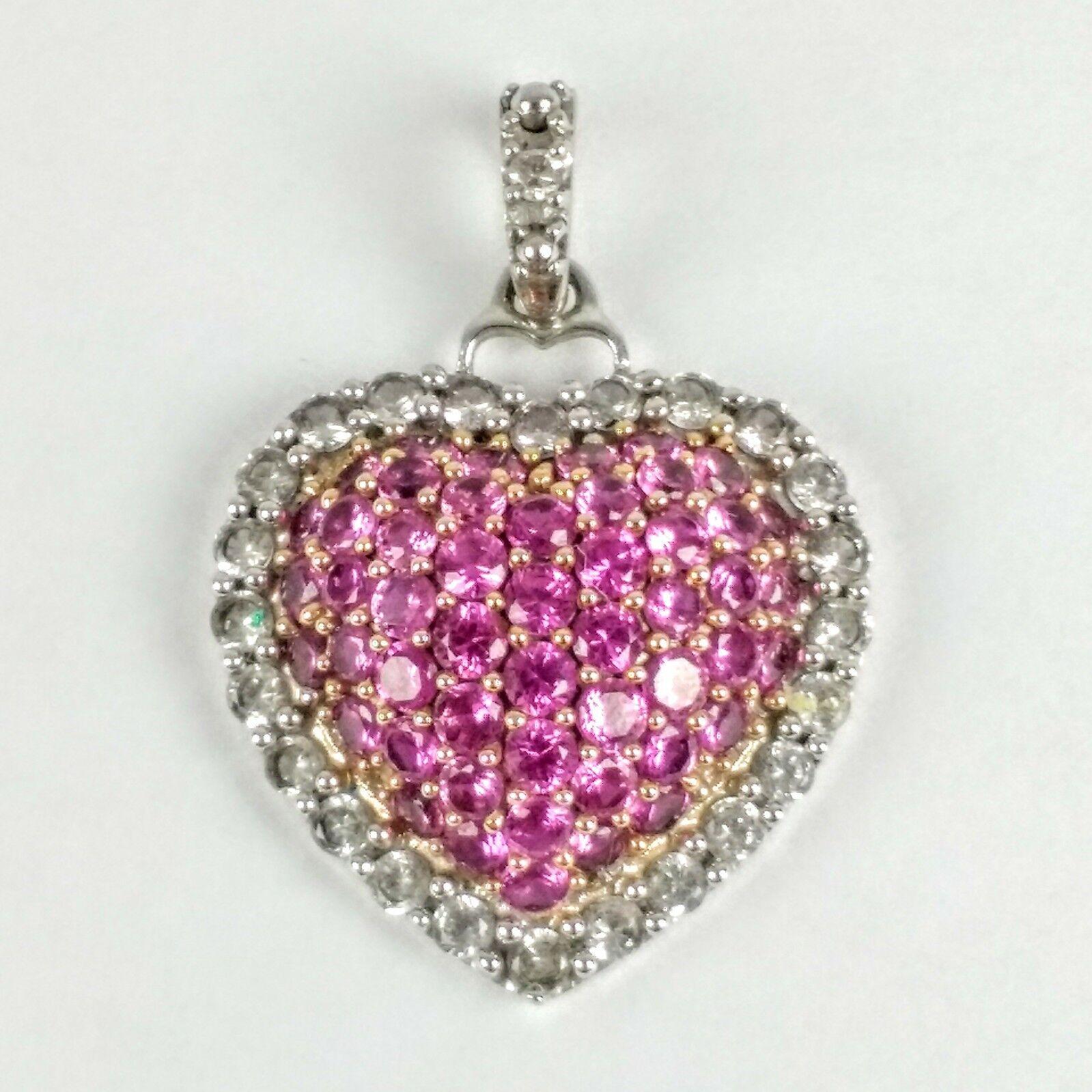 Alwand Vahan 10K White gold Hot Pink Stones Diamonds Pave Heart Pendant 2.05 gm