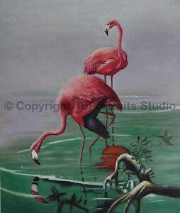 Flamingos-At-The-Lake-Original-Handmade-Oil-Painting-on-Canvas-Art-30-034-x-36-034