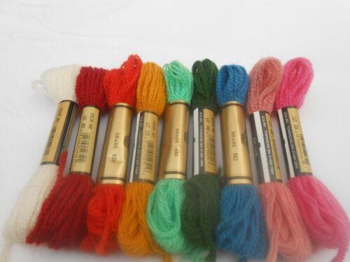 Paternayan 7.4m pack of 9 Assorted Paterna Tapestry Wool 8 yd