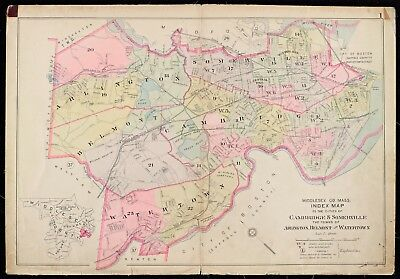 ARLINGTON 1900 MIDDLESEX COUNTY MA BELMONT WINTER ST TO PLEASANT ST ATLAS MAP