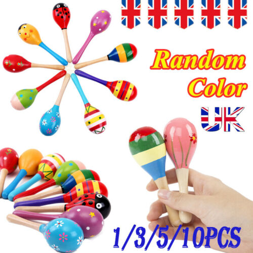 1//3//5//10PCS Wooden Maraca Baby Rattles Children Shaker Baby Education Toys Uk
