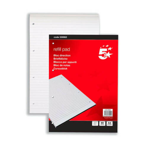 5 Star Refill Pad Headbound Feint Ruled 4-Hole Punched 80 Sheets A4 Pack 10