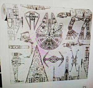Roommates Star Wars Spaceship Blueprints Peel Stick Wallpaper Room Home Decor Ebay