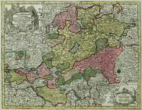 HESSEN Oberrheinischer Kreis - Seutter & Lotter - Kupferkarte koloriert 1760
