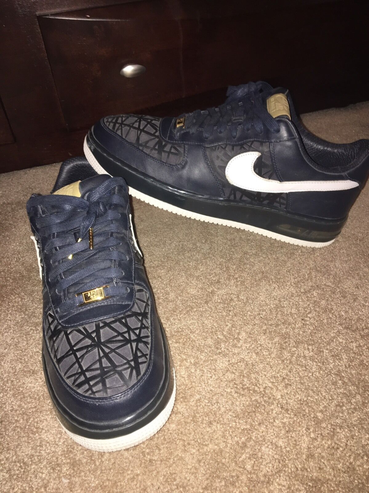 Rare Nike Air Force One Air 1 AF1 Supreme Max Air One Birds Nest Sz 13 Low Top High Navy 61675e
