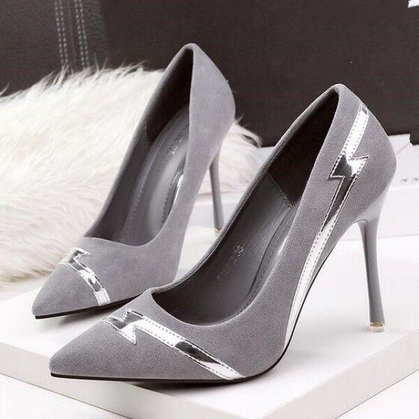 decolte Zapatos mujer grigio tacco Plata stiletto 10 cm tacco grigio spillo simil pelle 8192 8927b0