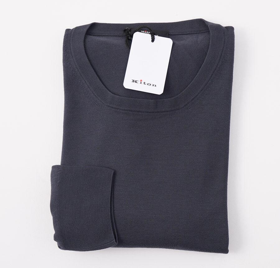 NWT 1550 KITON Dark grau '14 Micron' Super 180s Wool Sweater XXL (Eu 56)