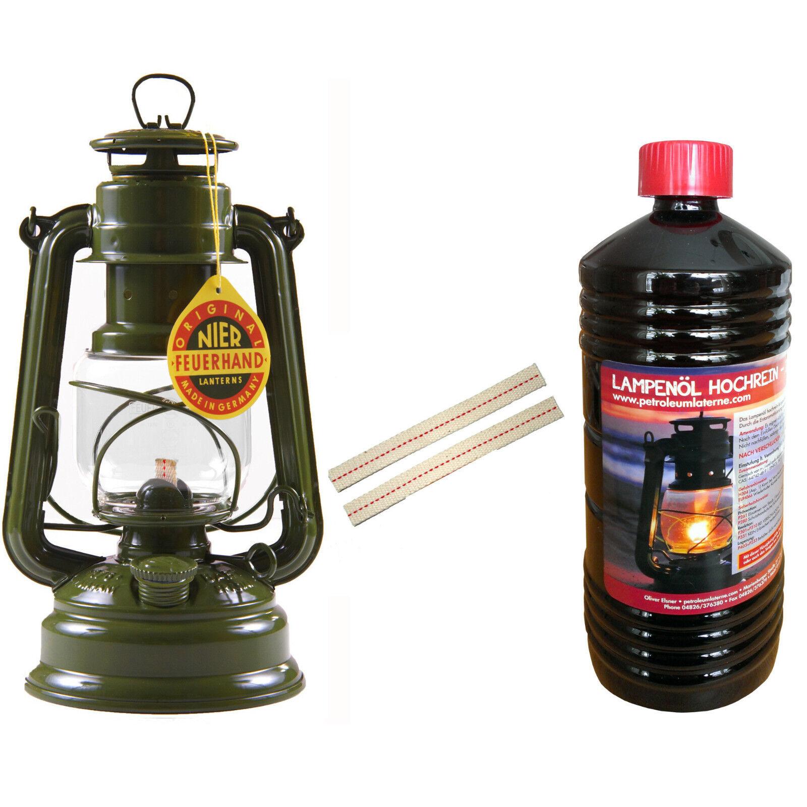 FEUERHAND® Set Sturmlaterne BW olive Petroleumlampe Petroleum Laterne + Dochte  | Mama kaufte ein bequemes, Baby ist glücklich