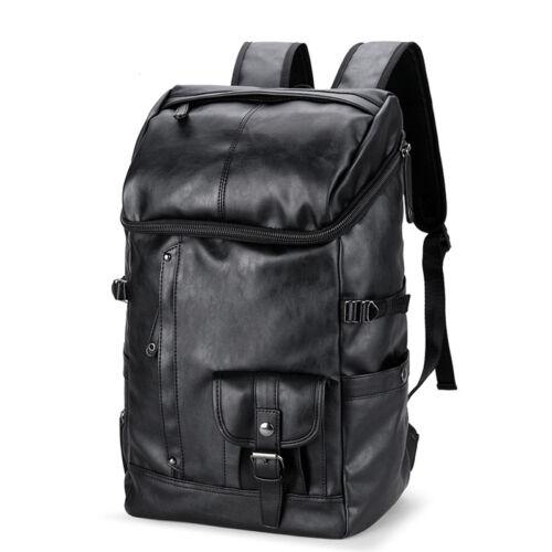 Fashion Mens Leather Travel Backpack Rucksack Laptop Bag School Satchel Handbag