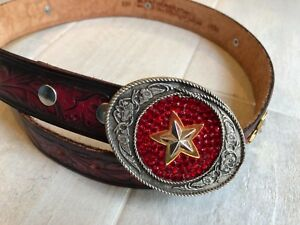 LEATHEROCK-Studded-Star-Red-Rhinestone-Belt-Buckle-Size-32-Stamped-Leather