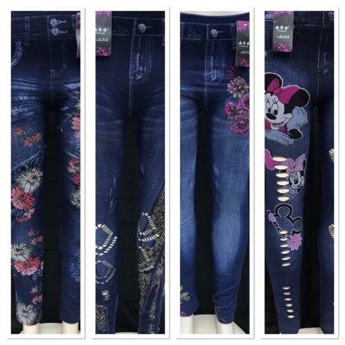 Ladies Womens Denim Blue Flower High Rise Stretch Slim Fit Jeans Jegging Winter
