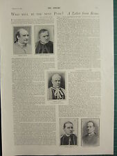 1900 VICTORIAN PRINT ~ WHO WILL BE NEXT POPE LETTER FROM ROME CARDINAL COTTI etc