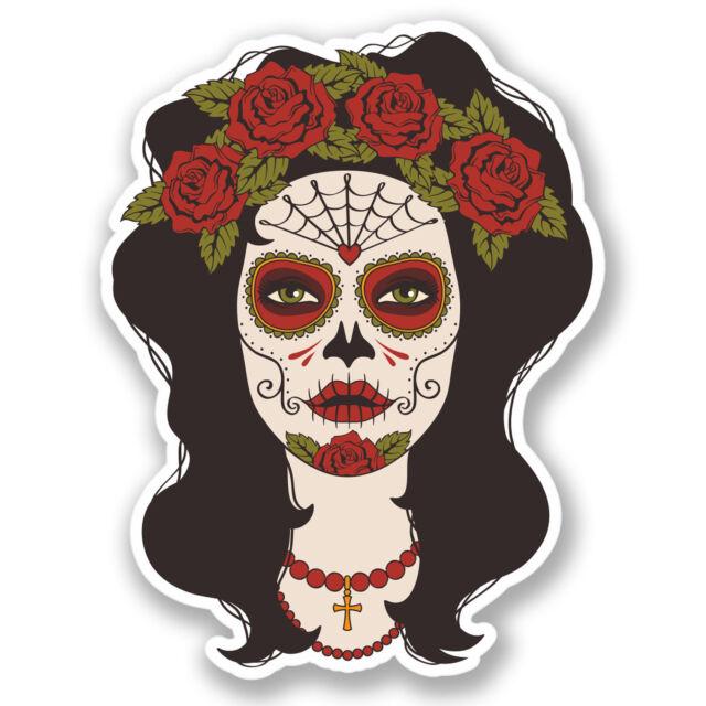 2 x Sugar Skull Rose Lady Vinyl Sticker Day of the Dead iPad Laptop Guitar #4383