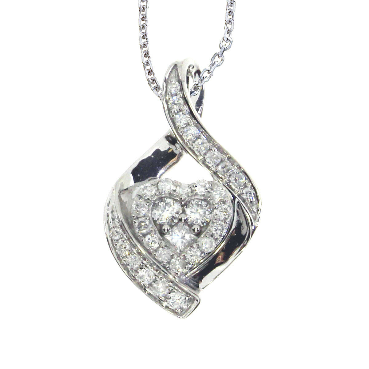 14k White gold Bypass Diamond Heart Pendant with 18  Chain