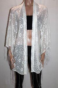 Blue-Soul-Brand-White-Boho-Lace-Kimono-Cardigan-Size-1-BNWT-SY74