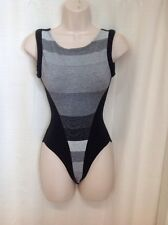 Vintage 80s Padded Straps Dance Leotard Small Workout Gym Black/Gray High Cut