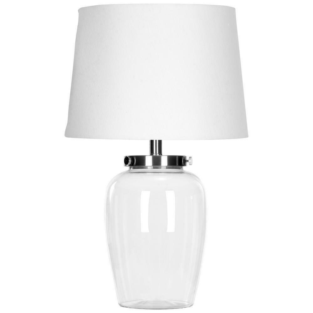 Table Lamp 22.5 in. Clear Fillable Glass with Rotary On/off Switch Mechanism
