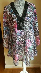 fd8fe249c1293 Kenneth Cole NY Beaded Batwing Tunic Swimsuit Cover Up Dress Size L ...