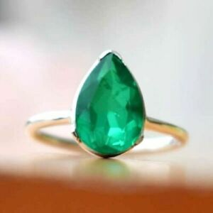 925-Sterling-Silver-Natural-Colombian-Emerald-Pear-Shape-Handmade-Lady-Ring