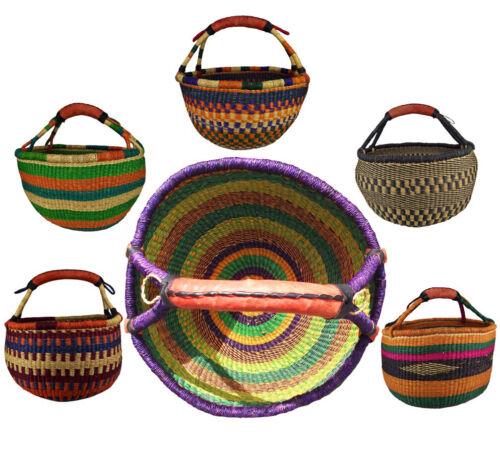 Africa Bolga Basket Shopping Basket Market Basket Sturdy Leather Display .701 Orig